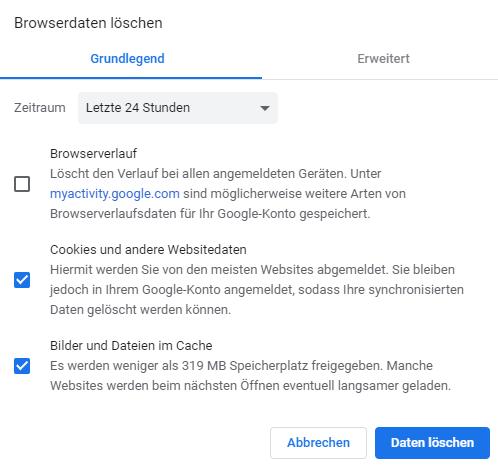 Cache löschen des Browsers